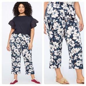 Eloquii Floral Print Crop Straight Trouser Pant